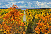 Country road in autumn color<br /> Manitoulin Island<br /> Ontario<br /> Canada