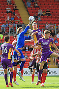 Paul Farman and Aaron Downes during the Vanarama National League match between Lincoln City and Cheltenham Town at Sincil Bank, Lincoln, United Kingdom on 8 August 2015. Photo by Antony Thompson.