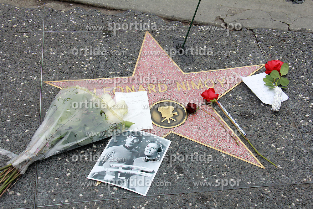 Flowers on Leonard Nimoy's Star on the Hollywood Walk of Fame, Hollywood, CA 02-27-15. EXPA Pictures &copy; 2015, PhotoCredit: EXPA/ Photoshot/ Martin Sloan<br /> <br /> *****ATTENTION - for AUT, SLO, CRO, SRB, BIH, MAZ only*****