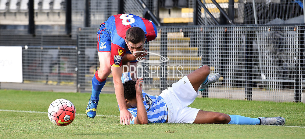 Conor Dymond doesn't stop in his pursuit to win the ball during the Final Third Development League match between U21 Crystal Palace and U21 Coventry City at Selhurst Park, London, England on 12 October 2015. Photo by Michael Hulf.
