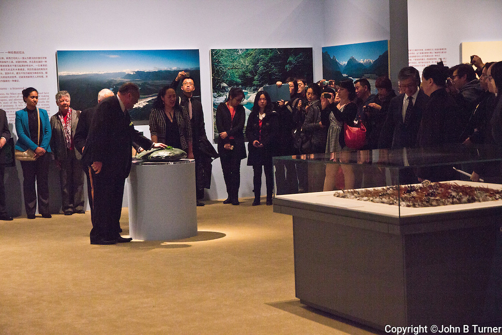 The exhibitions 'Kura Pounamu, Treasured Stone of Aotearoa New Zealand'  and 'Brian Brake: Lens on China and New Zealand' were jointly developed by the Museum of New Zealand Te Papa Tongarewa, Wellington, and the National Museum of China, Beijing, to celebrate 40 years of diplomatic recognition of the Peoples Republic of China. They opened on 31 October 2012. The NZ Ambassador to China, Carl Worker, the Te Papa Director, Michael Houlihan, and Te Papa curators were welcomed in the vast, imposing main hall in a very formal ceremony which rigidly separated the general audience, including NZ Embassy staff, from the lineup of dignitaries and Chinese choir. Maori representatives Shane Te Ruki (Ngati Maniapoto) and Richard Wallace (Ngai Tahu) opened the exhibitions with a karakia.