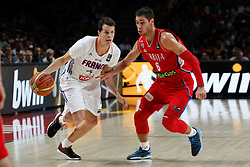 12.09.2014, City Arena, Madrid, ESP, FIBA WM, Frankreich vs Serbien, Halbfinale, im Bild France´s Heurtel (L) and Serbia´s Jovic // during FIBA Basketball World Cup Spain 2014 semifinal match between France and Serbia at the City Arena in Madrid, Spain on 2014/09/12. EXPA Pictures © 2014, PhotoCredit: EXPA/ Alterphotos/ Victor Blanco<br /> <br /> *****ATTENTION - OUT of ESP, SUI*****