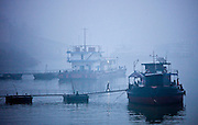 Pollution in the air surrounding boats moored on the Yangtze River, China