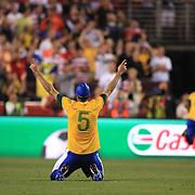 Sandro, Brazil, celebrates a goal during the USA V Brazil International friendly soccer match at FedEx Field, Washington DC, USA. 30th May 2012. Photo Tim Clayton