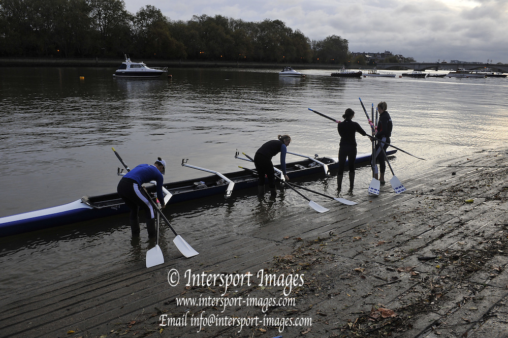 London, Great Britain,  London Rowing Club Women's H/W Quad, W4X, Bow, Jessica EDDIE, 2. Sarah WINKLESS , 3. Emma TWIGG and Juliette HAIGH   ,    Friday [Date}  [Mandatory Credit. Peter Spurrier/Intersport Images] Rowing Course: River Thames, Championship course, Putney to Mortlake 4.25 Miles, , Sunrise, Sunsets, Silhouettes