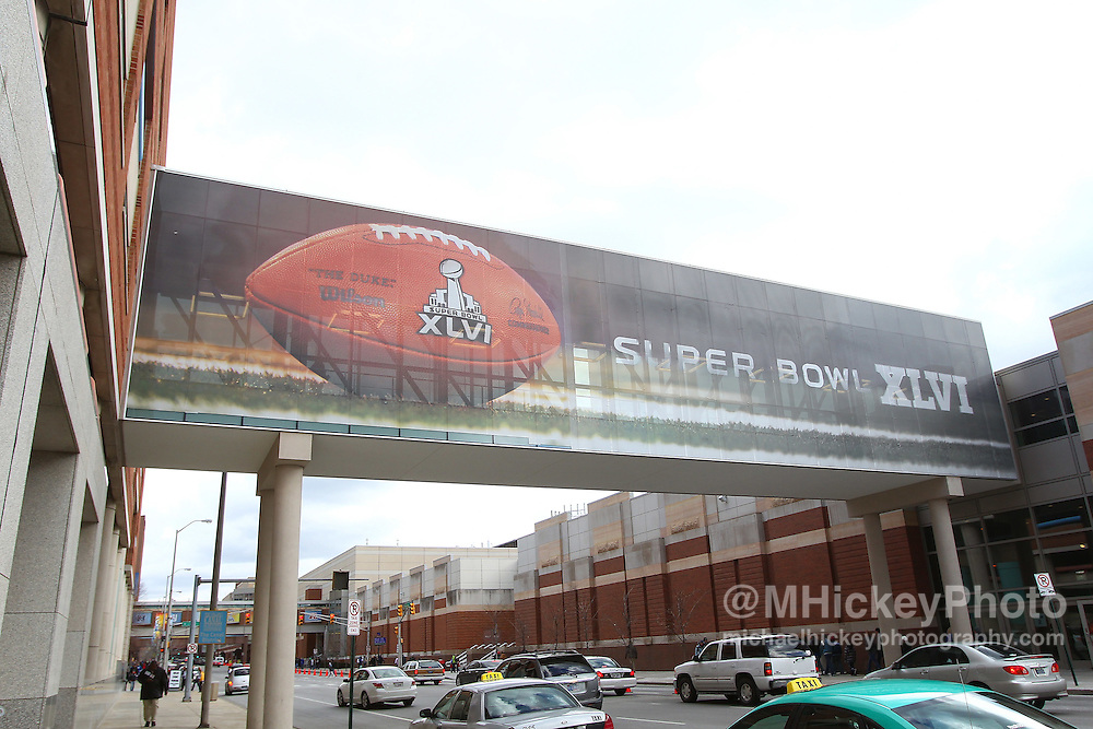 Jan. 29, 2012; Indianapolis, IN, USA; Super Bowl XLVI signage outside of the Indiana Convention Center in downtown Indianapolis. Mandatory credit: Michael Hickey-US PRESSWIRE