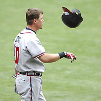 17 May 2006:   Atlanta Braves third baseman Chipper Jones (10) tosses his batting helmet after striking out to end the 8th inning against Washington Nationals pitcher Jesus Colome. The Nationals defeated the Braves 4-3 at RFK Stadium in Washington, D.C.
