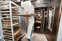 Young baker carrying tray in commercial kitchen