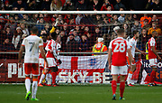 A SkyBet logo behind the Fleetwood goal during the EFL Sky Bet League 1 match between Fleetwood Town and Blackpool at the Highbury Stadium, Fleetwood, England on 25 November 2017. Photo by Paul Thompson.
