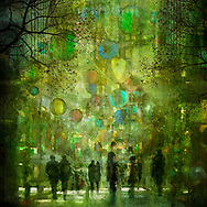 Abstract cityscape showing a street scene with colored beach balls, high risers and sketched people in bright green summer colors