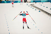 PYEONGCHANG-GUN, SOUTH KOREA - FEBRUARY 11: Simen Hegstad Krueger of Norway celebrates during the Mens Skiathlon 15km+15km Cross-Country Skiing on day two of the PyeongChang 2018 Winter Olympic Games  at Alpensia Cross-Country Centre on February 11 in Pyeongchang-gun, South Korea. Photo by Nils Petter Nilsson/Ombrello               ***BETALBILD***