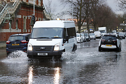 © Licensed to London News Pictures. 02/02/2018. London, UK. The River Thames has flooded a few roads at high tide in Richmond in south west London. Photo credit: Peter Macdiarmid/LNP