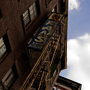 Fire escape stairs of Brownstone in Soho District