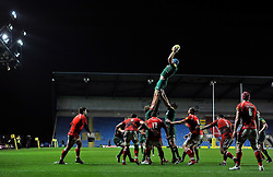 Graham Kitchener of Leicester Tigers rises high to win lineout ball - Photo mandatory by-line: Patrick Khachfe/JMP - Mobile: 07966 386802 23/11/2014 - SPORT - RUGBY UNION - Oxford - Kassam Stadium - London Welsh v Leicester Tigers - Aviva Premiership
