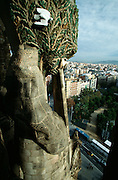 Sagrada Familia by Antoni Gaudi. View from a Nativity Facade tower.