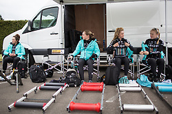 Members of the Drops Cycling Team team slowly gets ready for the first, 106.9km road race stage of Elsy Jacobs - a stage race in Luxembourg, in Steinfort on April 30, 2016