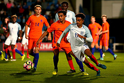 Jacob Maddox of England Under 20s takes on Mitchell van Rooijen of Netherlands Under 20s - Mandatory by-line: Robbie Stephenson/JMP - 31/08/2017 - FOOTBALL - Telford AFC - Telford, United Kingdom - England v The Netherlands - International Friendly