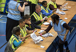 © Licensed to London News Pictures. 04/05/2017. Bristol, UK. Ballots are counted at the Election Count at City Academy Bristol for the West of England Combined Authority Mayoral election 2017. The candidates are: Tim Bowles -Conservative Party; Aaron Warren Foot - UK Independence Party (UKIP); Darren Edward Hall - Green Party; Lesley Ann Mansell - Labour and Co-operative Party; John Christopher Savage - Independent; Stephen Williams - Liberal Democrats. Photo credit : Simon Chapman/LNP
