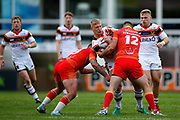 Bradford Bulls replacement Mikolaj Oledzki (31) is tackled  during the Kingstone Press Championship match between Sheffield Eagles and Bradford Bulls at, The Beaumont Legal Stadium, Wakefield, United Kingdom on 3 September 2017. Photo by Simon Davies.