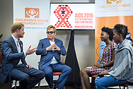 21st International AIDS Conference (AIDS 2016), Durban, South Africa.<br /> Photo shows HRH Prince Harry and Sir Elton John meeting presenters from the Childrens' Radio Foundation. International AIDS Conference. Prince Harry is one of the Co-founders and Patrons of Sentebale, which delivers psychosocial support to adolescents living with HIV in Lesotho and now in Botswana.<br /> Photo&copy;International AIDS Society/Steve Forrest/Workers' Photos