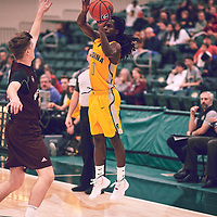 3rd year guard, Gregory Rene (1) of the Regina Cougars during the Men's Basketball Home Game on Fri Nov 30 at Centre for Kinesiology,Health and Sport. Credit: Arthur Ward/Arthur Images