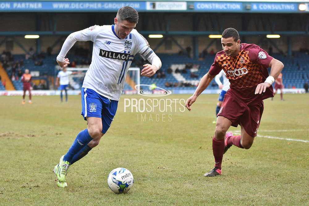 Bury Forward, Ryan Lowe on the ball during the Sky Bet League 1 match between Bury and Bradford City at the JD Stadium, Bury, England on 5 March 2016. Photo by Mark Pollitt.