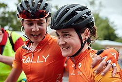 Heidi Franz (USA) lets the team win sink in on Stage 1 of 2020 Santos Women's Tour Down Under, a 116.3 km road race from Hahndorf to Macclesfield, Australia on January 16, 2020. Photo by Sean Robinson/velofocus.com