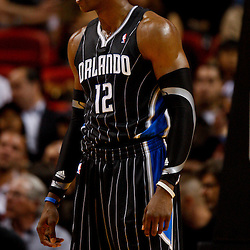 March 3, 2011; Miami, FL, USA; Orlando Magic center Dwight Howard (12) during a game against the Miami Heat at the American Airlines Arena. The Magic defeated the Heat 99-96.   Mandatory Credit: Derick E. Hingle-US PRESSWIRE