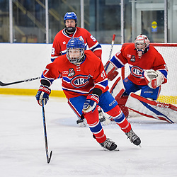 OAKVILLE, ON  - FEB 23,  2018: Ontario Junior Hockey League game between the Oakville Blades and the Toronto Jr. Canadiens, Anton Trublin #47 of the Toronto Jr. Canadiens follows the play during the third period.<br /> (Photo by Ryan McCullough / OJHL Images)