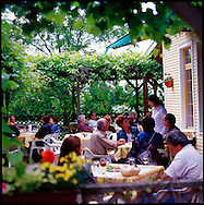 The restaurant Le Tire Bouchon at L'Orpailleur Winery in the Eastern Townships of Quebec is a popular lunch destination.  http://www.orpailleur.ca/