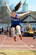 Central Bucks South's Sara Pfeiffer competes in the long jump at the Central Bucks West Relays Saturday April 18, 2015 in Doylestown, Pennsylvania.  (Photo by William Thomas Cain/Cain Images)