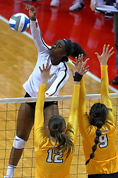 23 November 2017:  Juma Armando attacks past Taylor Graboski and Brittany Anderson during a college women's volleyball match between the Valparaiso Crusaders and the Illinois State Redbirds in the Missouri Valley Conference Tournament at Redbird Arena in Normal IL (Photo by Alan Look)
