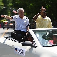 "Trainer Ray Rinaldi and professional boxer Ryon ""Big Youth"" McKenzie are seen in the parade of champions during the 2013 International Boxing Hall of Fame induction ceremony  on Sunday, June 9, 2013 in Canastota, New York.  (AP Photo/Alex Menendez)"