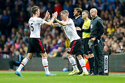 Michael Carrick (L) is substituted for Bastian Schweinsteiger of Manchester United - Mandatory byline: Rogan Thomson/JMP - 07966 386802 - 14/08/2015 - FOOTBALL - Villa Park Stadium - Birmingham, England - Aston Villa v Manchester United - Barclays Premier League.