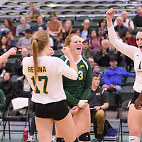 3rd year libero Taylor Ungar (13) of the Regina Cougars in action during Women's Volleyball home game on November 18 at Centre for Kinesiology, Health and Sport. Credit: /Arthur Images