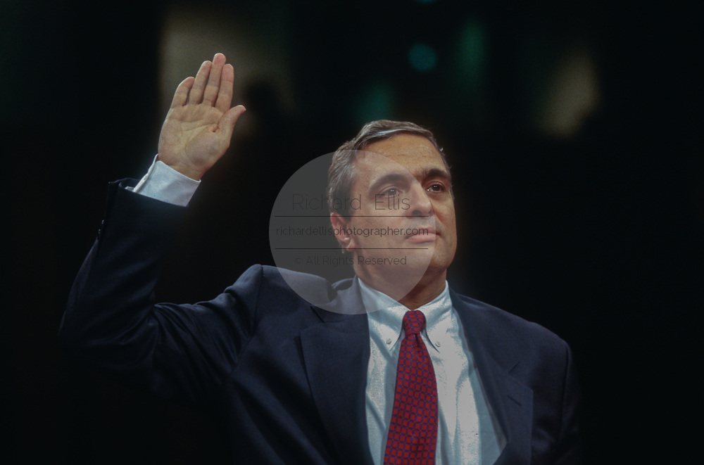 WASHINGTON, DC, USA - 1997/05/06: CIA Director designate George Tenet is sworn in before the Senate Intelligence Committee hearing on his nomination on Capitol Hill May 6, 1997 in Washington, DC.    (Photo by Richard Ellis)