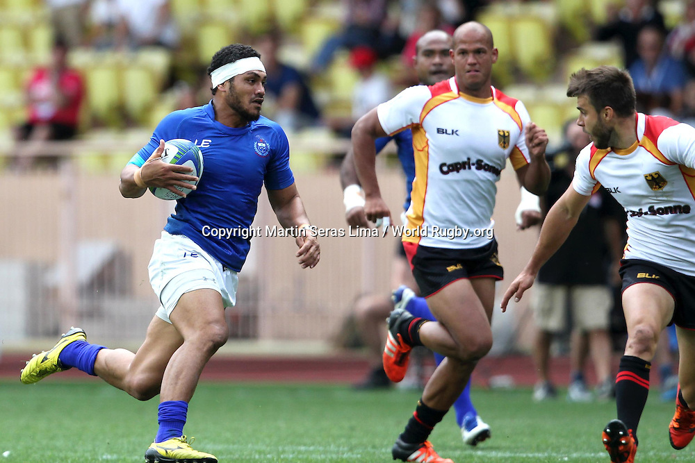Samoa win the battle with Germany in the Championship Cup Semi Final, Second day at World Rugby Monaco Sevens 2016 at Stade Louis II, Monaco - Photo Martin Seras Lima