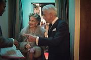 LESLIE CARON; ; NICKY HASLAM;  , Nicky Haslam hosts dinner at  Gigi's for Leslie Caron. 22 Woodstock St. London. W1C 2AR. 25 March 2015