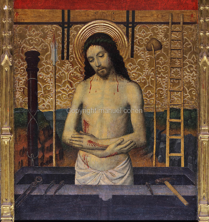 Painted panel of Christ of Sorrows, surrounded by the instruments of the Passion, from the lower section of the Altarpiece of the Transfiguration of Christ, late 15th century, by Jaume Huguet, 1412-92, in the Cathedral of St Mary, designed by Benito Dalguayre in Catalan Gothic style and begun 1347 on the site of a Romanesque cathedral, consecrated 1447 and completed in 1757, Tortosa, Catalonia, Spain. The altarpiece was originally in the Transfiguration Chapel but is now in the Cathedral Museum. The cathedral has 3 naves with chapels between the buttresses and an ambulatory with radial chapels. Picture by Manuel Cohen