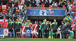 Teams enter pitch, led by Referee Mike Deene, and Officials, Middlesbrough v Norwich, Sky Bet Championship, Play Off Final, Wembley Stadium, Monday  25th May 2015