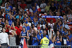 13.09.2014, City Arena, Madrid, ESP, FIBA WM, Frankreich und Litauen, Entscheidungsspiel zwischen Platz 3 und 4, im Bild France´s supporters celebrate // during FIBA Basketball World Cup Spain 2014 playoff match place 3 and 4 between France and Lithuania at the City Arena in Madrid, Spain on 2014/09/13. EXPA Pictures © 2014, PhotoCredit: EXPA/ Alterphotos/ Victor Blanco<br /> <br /> *****ATTENTION - OUT of ESP, SUI*****