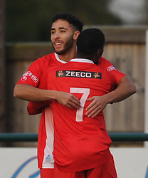 BRADLEY FORTNAM TOMLINSON CELEBRATES AFTER SCORING STAMFORD AFC GOAL IN FOUR MINUTES OF THE START OF THE GAME, Buildbase FA Trophy 2nd Qualifying Round, Stamford AFC v Droylsden FC Zeeco  Ground Saturday 11th November 2017.Score 1-2 Photo:Mike Capps