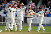 Wicket - Jack Leach of Somerset celebrates taking the wicket of Chris Read of Nottinghamshire during the Specsavers County Champ Div 1 match between Somerset County Cricket Club and Nottinghamshire County Cricket Club at the Cooper Associates County Ground, Taunton, United Kingdom on 22 September 2016. Photo by Graham Hunt.