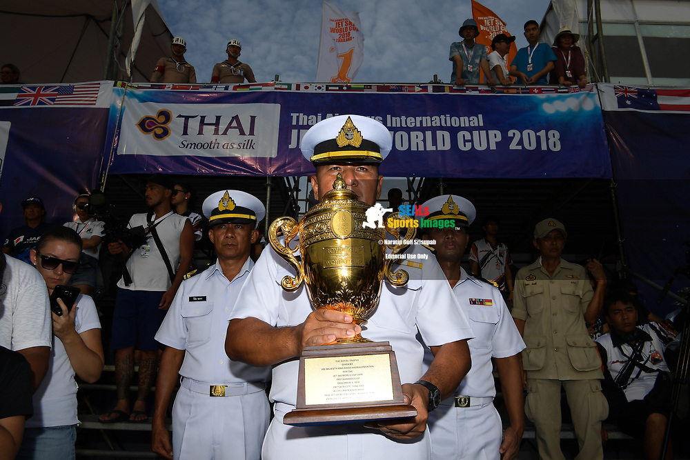 PATTAYA, THAILAND - DECEMBER 09: The Royal Thai Navy with the King's Cup Royal Trophy during the Moto4 at the Thai Airways International Jet Ski World Cup 2018, Jomtien Beach, Pattaya, Thailand on December 09, 2018. <br /> .<br /> .<br /> .<br /> (Photo by: Naratip Golf Srisupab/SEALs Sports Images)<br /> .<br /> Any image use must include a mandatory credit line adjacent to the content which should read: Naratip Golf Srisupab/SEALs Sports Images