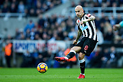 Jonjo Shelvey (#8) of Newcastle United plays a short pass during the Premier League match between Newcastle United and Bournemouth at St. James's Park, Newcastle, England on 4 November 2017. Photo by Craig Doyle.