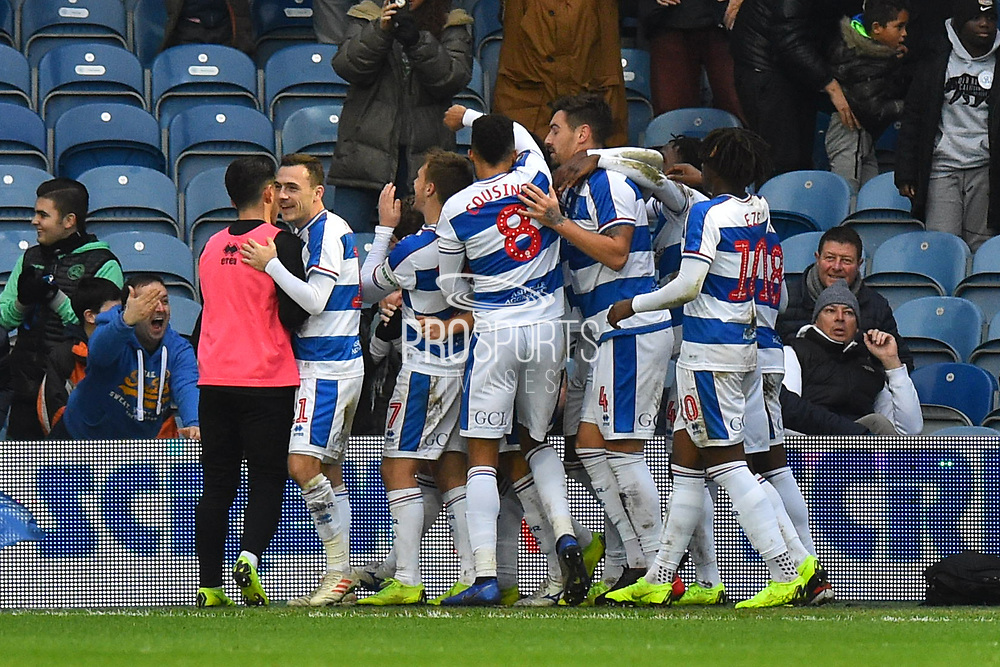 (Caption Correction) Goal - Jake Bidwell (3) of Queens Park Rangers celebrates scoring a goal to make the score 2-1 during the The FA Cup 3rd round match between Queens Park Rangers and Leeds United at the Loftus Road Stadium, London, England on 6 January 2019.