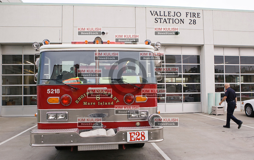 The city of Vallejo , California  closes Fire Station 28 on Mare Island July 1, 2009  because of city budget deficits. It is the third fire station to be shut down in the city of over 120,000  since March 2008.  Vallejo is the first California city in this current financial crisis to file bankruptcy because of revenue losses, salary contracts  and expanding pension obligations.  Photo by Kim Kulish