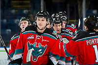 KELOWNA, CANADA - NOVEMBER 21: Kaedan Korczak #6 of the Kelowna Rockets celebrates the win against the Regina Pats on November 21, 2018 at Prospera Place in Kelowna, British Columbia, Canada.  (Photo by Marissa Baecker/Shoot the Breeze)