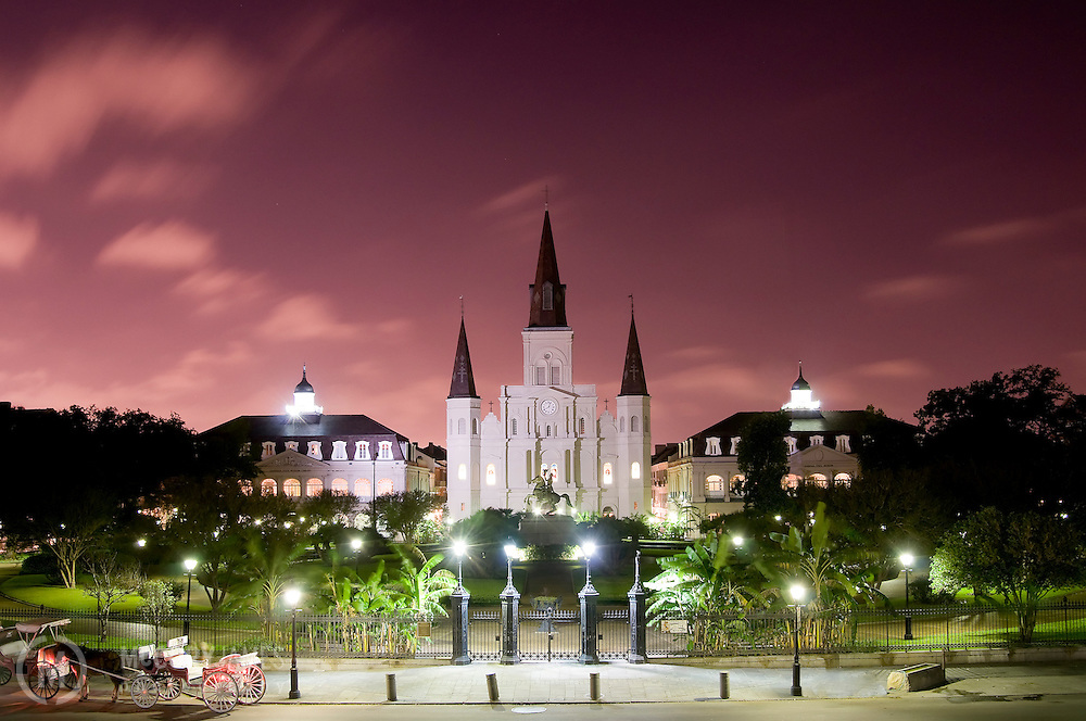 St. Louis Cathedral and Jackson Square at night in New Orleans, Louisiana