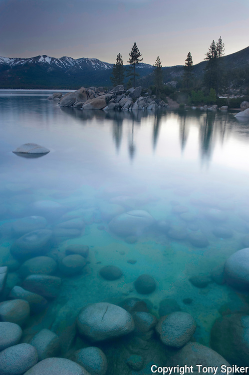 """""""Sand Harbor Sunrise 2"""" - The clear blue water of Lake Tahoe is echoed by the clear blue skies over head."""